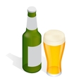 Isometric Bottle of beer with drops and Glass vector image