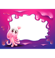 A border design with a pink octopus monster vector image vector image
