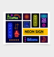 advertising neon signs infographic template vector image vector image