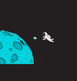 astronaut and mini asteroid vector image vector image