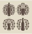beer glasses bottle and laurel wreath vector image vector image