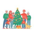 big christmas family grandma grandpa mom and vector image