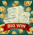big winner poster you win falling vector image vector image