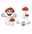 Birch bolete mushroom cartoon character vector image vector image