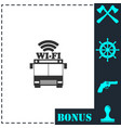bus wi-fi icon flat vector image vector image