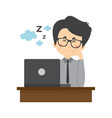 business character sleeping on working time vector image vector image
