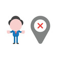 businessman character showing hand stop sign with vector image
