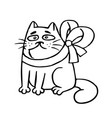 cat with a bow-knot sitting angry vector image vector image