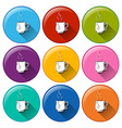 Circle buttons with cups of tea vector image vector image