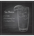 Cocktail Sea Breeze on black board vector image vector image