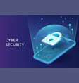 cyber security on smart phone isometric vector image