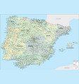 Detailed administrative map spain and portugal
