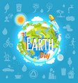 earth day poster with planet infrastructure vector image vector image