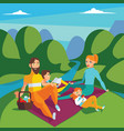 family on picnic summer scene with hills and vector image