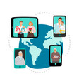 family video chat global network communication vector image