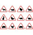 farm animals warning signs vector image vector image