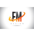 fm f m letter logo with fire flames design and vector image vector image