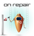 fun robot that fixes something vector image vector image