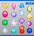 gemstones transparent icon set vector image vector image