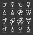 gender icons set on dark background vector image vector image
