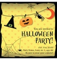 Halloween party invitation card with moon spider vector image