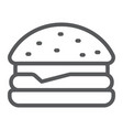 hamburger line icon food and bakery fast food vector image vector image