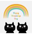 Happy Friendship Day Rainbow Two cute cartoon cat vector image