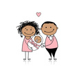 Happy parents with newborn baby vector image vector image
