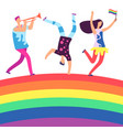 lgbt parade people holding rainbow flag gay love vector image
