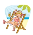 Little girl sitting in chaise-longue on the beach vector image vector image