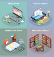 reading and library concept icons set vector image