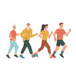 running jogging family old young couples isolated vector image vector image
