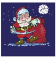 Santa Claus with big bags of gifts goes to you vector image vector image