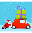 Santa pushing christmas car with gift vector image vector image