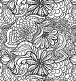 Seamless Flower Outline Pattern vector image