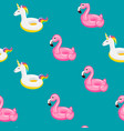 seamless pattern flamingo and unicorn inflatable vector image vector image