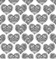 seamless pattern from hand drawn doodle hearts vector image vector image