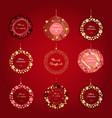 set christmas doodle balls for print or web vector image vector image