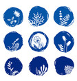 set of floral ink blue watercolor icons vector image vector image
