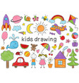 set of isolated colored kids drawing vector image vector image