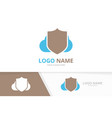 shield and cloud logo combination security vector image
