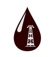Silhouette of the rig in a drop of oil vector image vector image