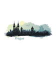 stylized landscape of prague with the main sights vector image vector image