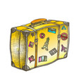 suitcase with royalty travel stickers color vector image vector image