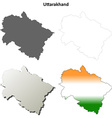Uttarakhand blank detailed outline map set vector image