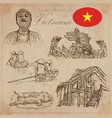 vietnam pictures of life pack hand drawings vector image vector image