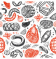 vintage meat products seamless pattern hand drawn vector image vector image