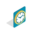 Wall color clock icon isometric 3d style vector image vector image