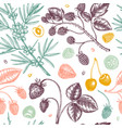 Wild berries sketches seamless pattern hand drawn