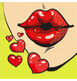 woman sending heart kisses pop art comic style vector image vector image